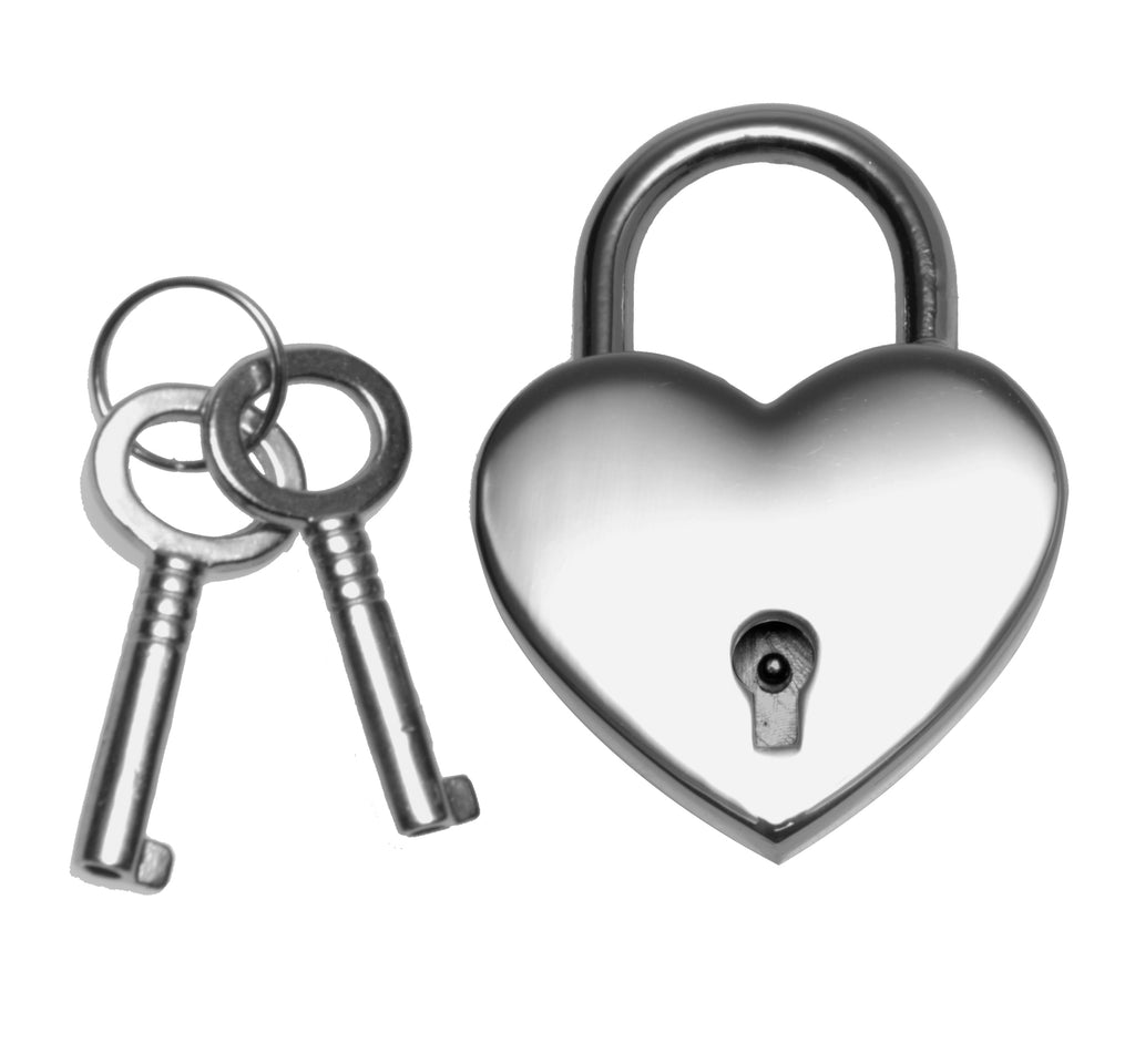 Heart Shaped Nickle Polished Padlock - Tuctoc