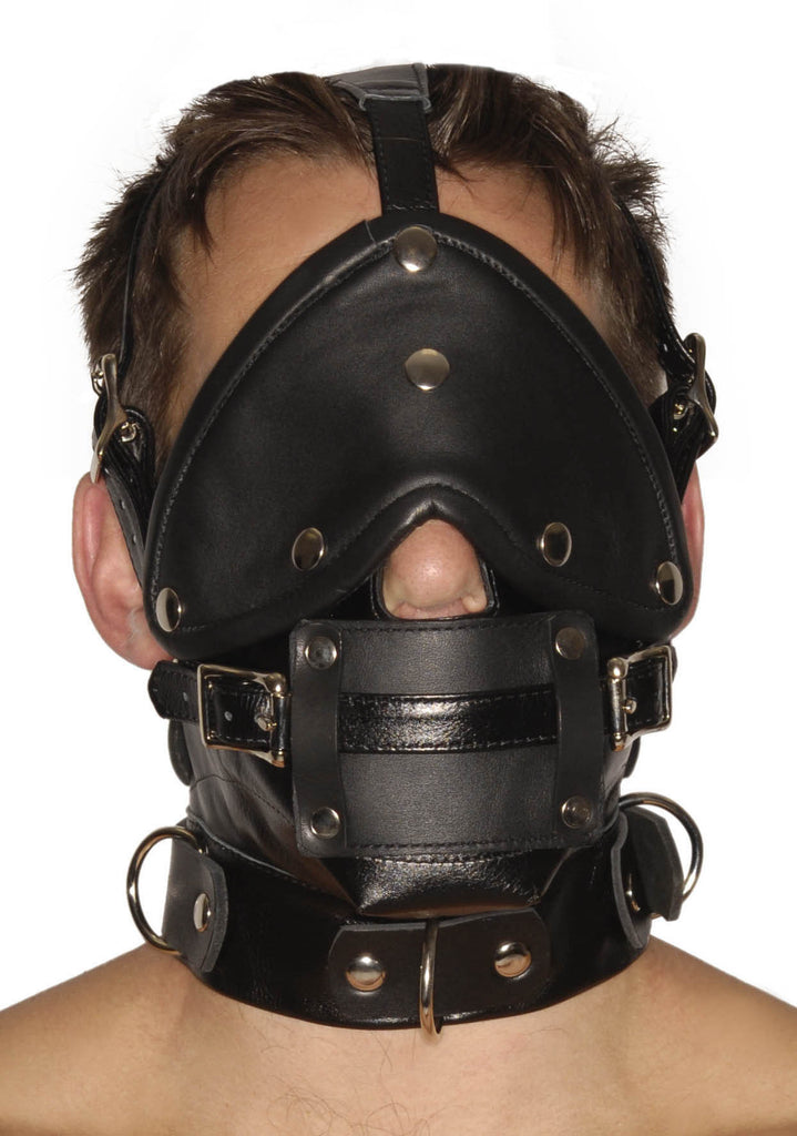 Strict Leather Premium Muzzle with Blindfold and Gags - Tuctoc
