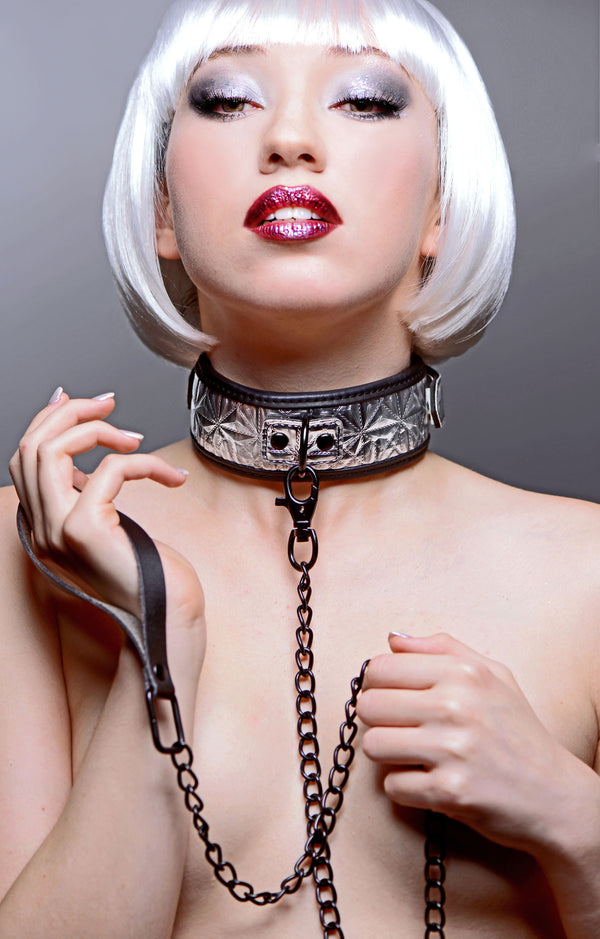 Platinum Bound Chained Collar with Leash - Tuctoc