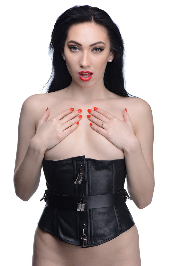 Strict Leather Locking Corset - Tuctoc