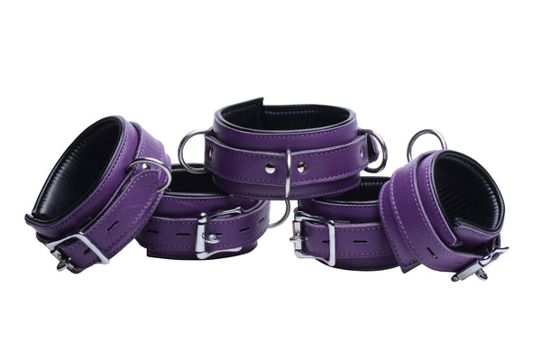 Purple 5 Piece Locking Leather Bondage Set - Tuctoc