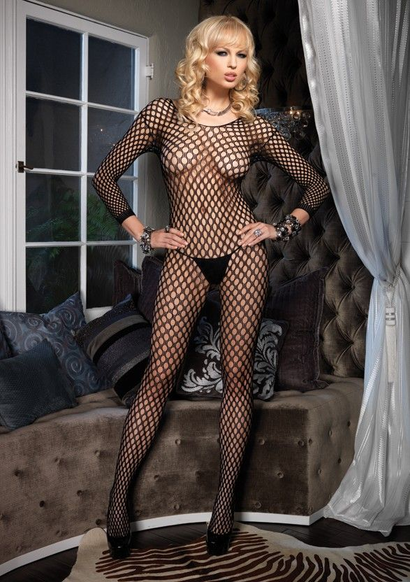 Lycra Ringo Hole Long Sleeves Bodystocking - Tuctoc