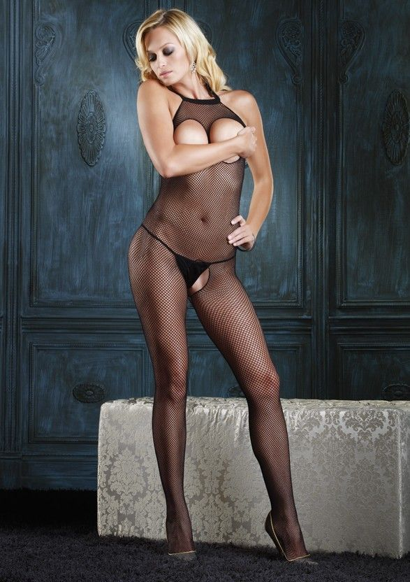 Seamless Fishnet Halter Bodystocking with Open Bust - Tuctoc