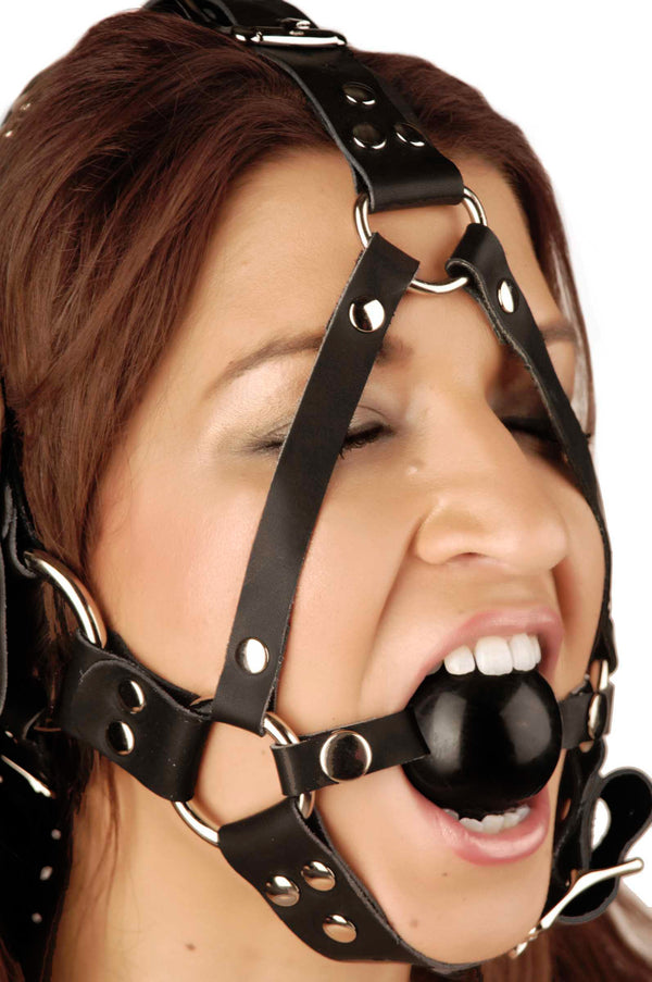 Leather Ball Gag Harness - Tuctoc