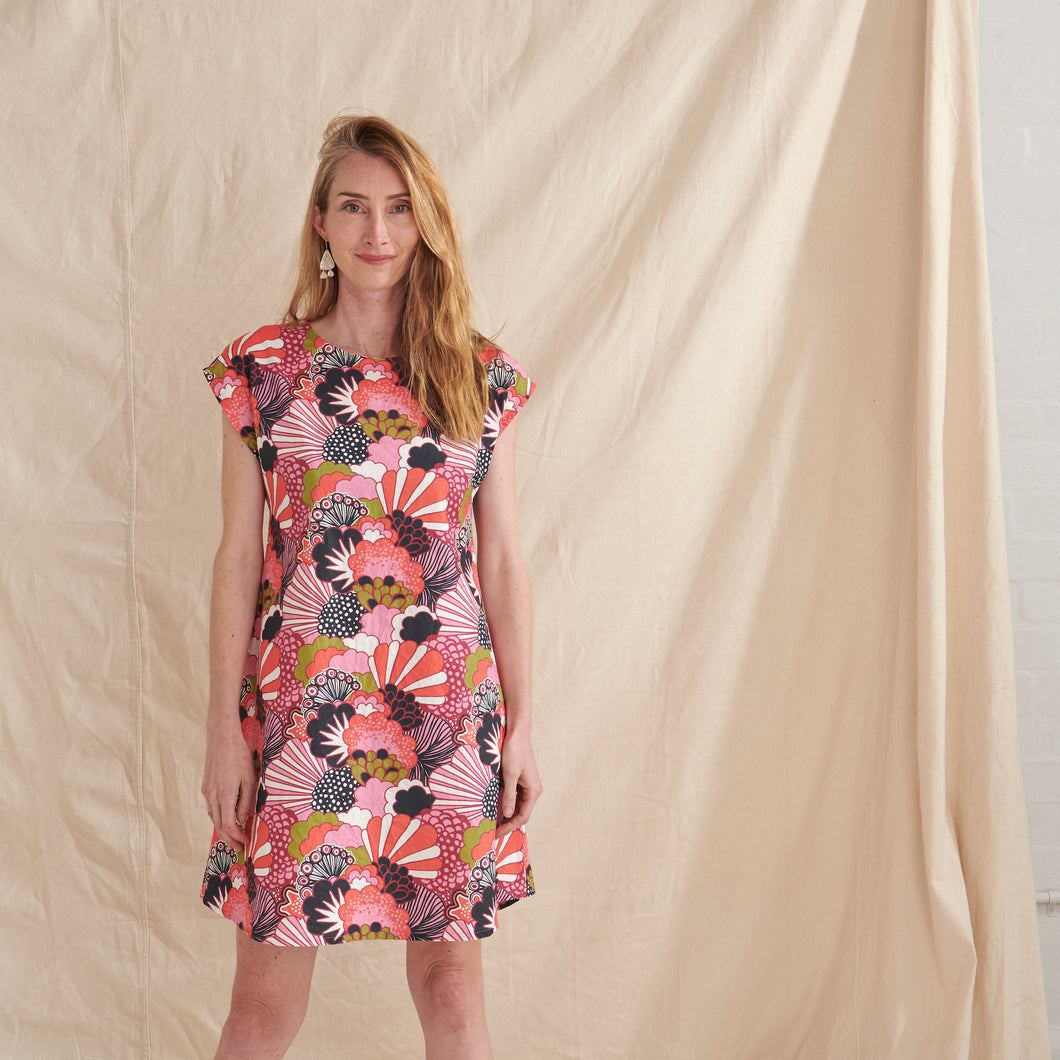 Coral Garden A-Line Dress - Nya-ethical