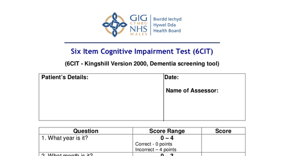 Six Item Cognitive Impairment Test (6CIT) - Free Product