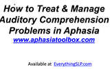 How to Treat & Manage Auditory Comprehension Problems in Aphasia Full Program-  DIGITAL and VIDEO DOWNLOAD