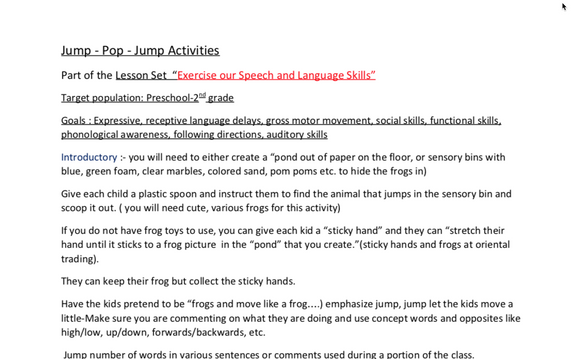 """Exercise Our Speech and Language Skills"": Jump - Pop - Jump Activities:  Lesson Set 1 -   DIGITAL DOWNLOAD"