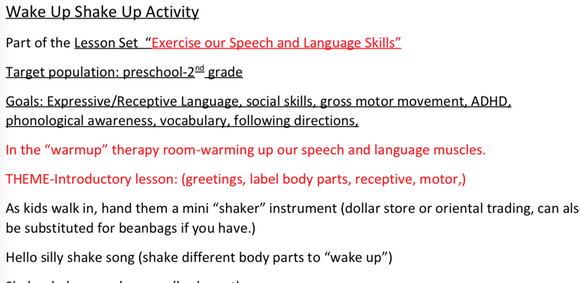 """Exercise Our Speech and Language Skills"": Wake Up Shake Up:  Lesson Set 2-   DIGITAL DOWNLOAD"