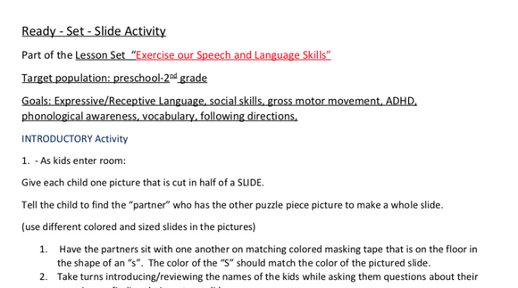 """Exercise Our Speech and Language Skills"": Ready-Set-Slide:  Lesson Set 3-   DIGITAL DOWNLOAD"