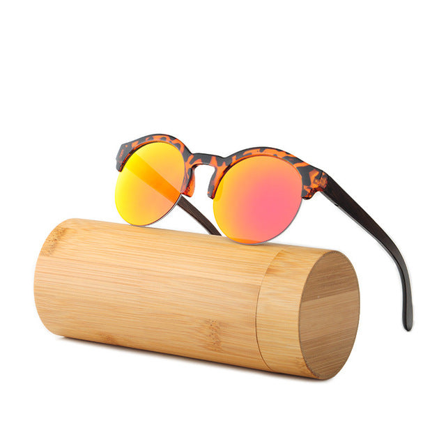 Fashion Round Bamboo Sunglasses