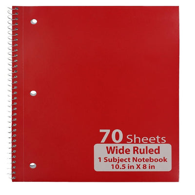 RED SPIRAL BOUND WIDE RULED NOTEBOOK