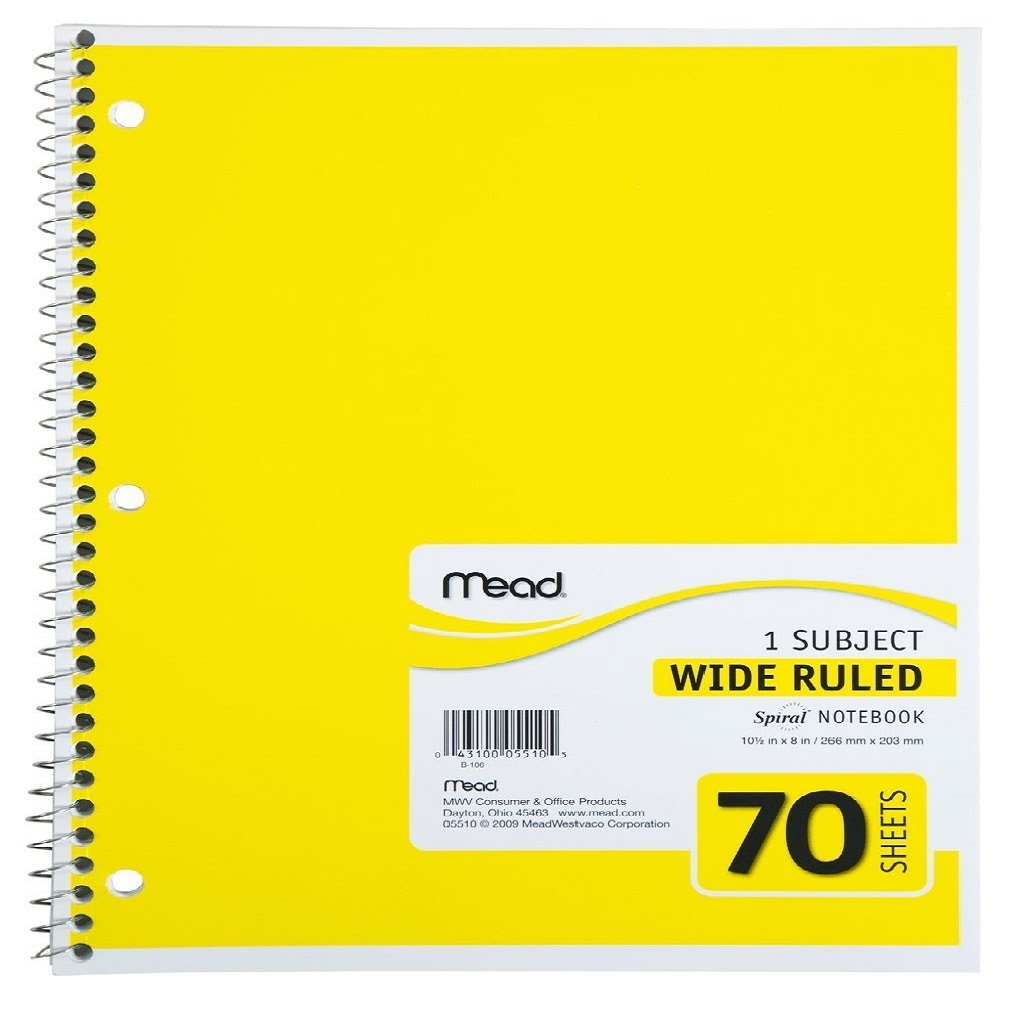 YELLOW SPIRAL BOUND WIDE RULED NOTEBOOK