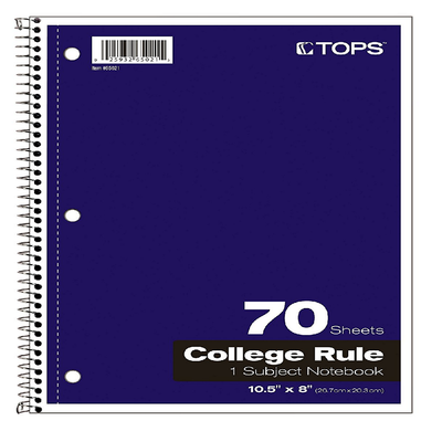 PURPLE SPIRAL BOUND COLLEGE RULED NOTEBOOK