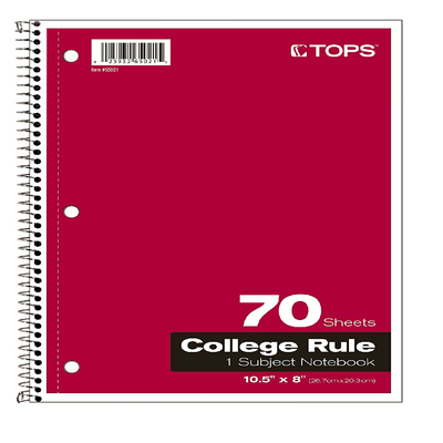 RED SPIRAL BOUND COLLEGE RULED NOTEBOOK