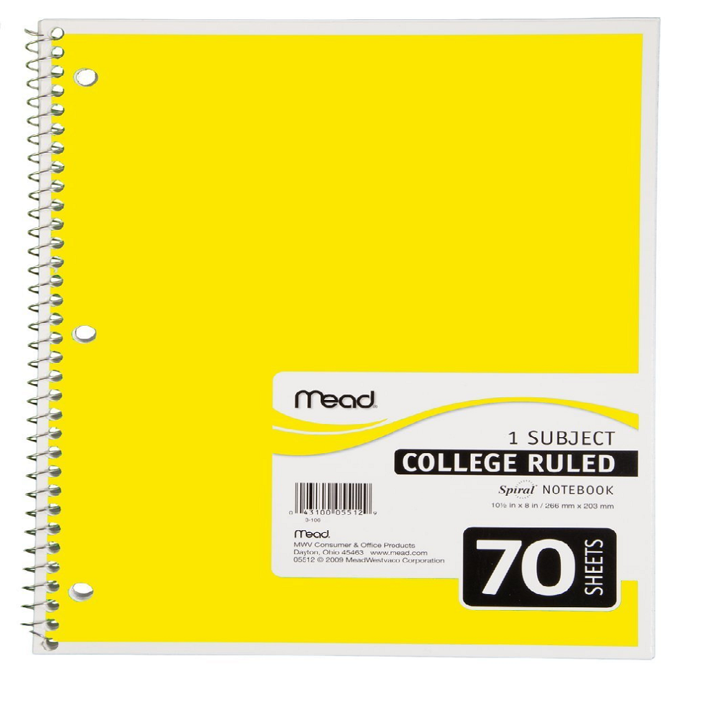 YELLOW SPIRAL BOUND COLLEGE RULED NOTEBOOK