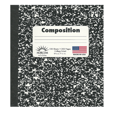 BLACK AND WHITE COLLEGE RULED MARBLED COMPOSITION NOTEBOOK