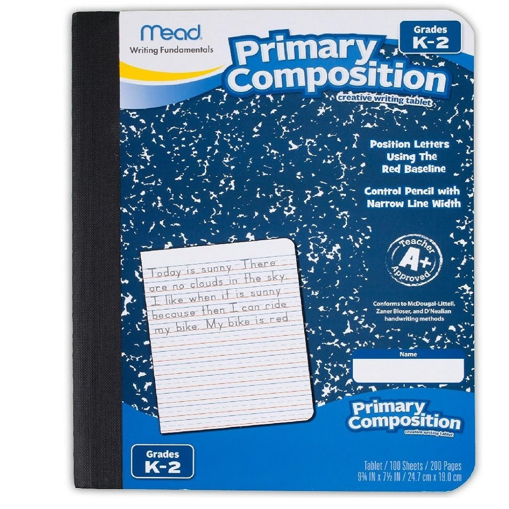 PRIMARY RULED COMPOSITION BOOK (WITH TWO SOLID LINES AND THE MIDDLE LINE BROKEN)
