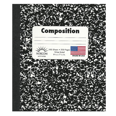 BLACK AND WHITE WIDE RULED MARBLED COMPOSITION BOOK