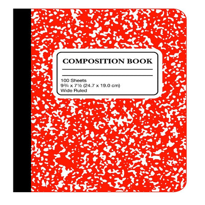 RED WIDE RULED MARBLED COMPOSITION BOOK