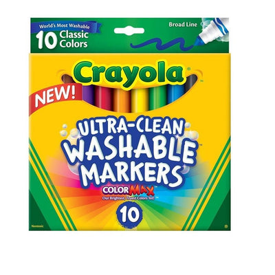 BOX OF WASHABLE CRAYOLA MARKERS, 10 COUNT