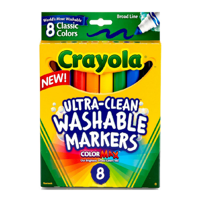 BOX OF WASHABLE CRAYOLA MARKERS, 8 COUNT