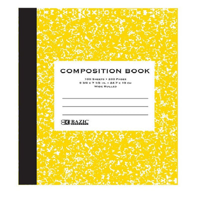 YELLOW WIDE RULED MARBLED COMPOSITION BOOK