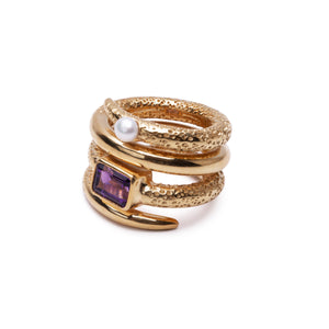 LUST Ring Amethyst Gold Plated
