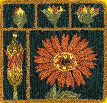 Marigold -DPN Kit- Hand-Drawn on weavers cloth punch needle pattern & custom 9pc. Valdani thread kit