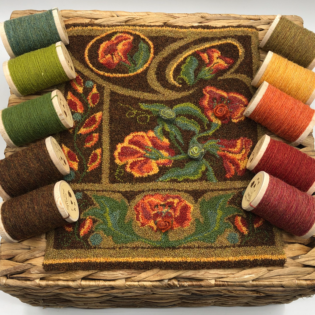 Efflorescence DPN Kit- Hand-drawn on weavers cloth pattern & 10pc. RWM thread kit