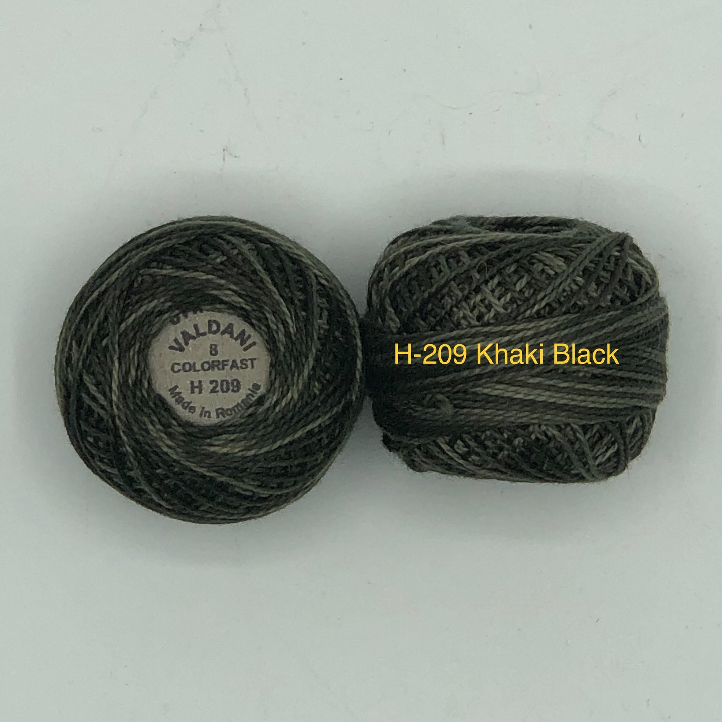 Valdani Thread Size 8, Perle Cotton H-#209 Khaki Black