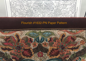 Flourish #1632-LG Paper Punch Needle Pattern-(PAPER PATTERN ONLY)