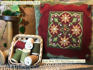 SERENE (DPN) Drawn on Weavers Cloth Punch Needle Pattern & 6 pc. Rustic Moire thread Kit