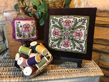 Lovely (DPN) 2 Pattern Kit-Drawn on Weavers Cloth Punch Needle Kit & 9 pc. Rustic Moire Wool Threads