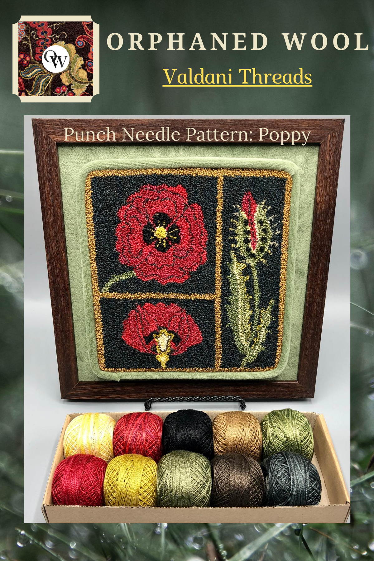 Poppy- DPN Kit- Hand-drawn on weavers cloth pattern & custom Valdani 10pc thread kit