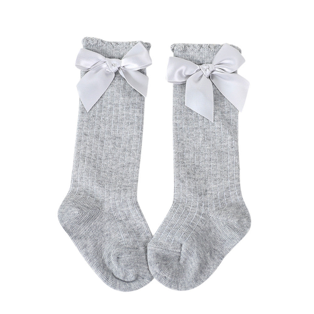 648d747cf19 ... Big Bow Toddlers Girls Knee High Soft Cotton Socks (More Colors) ...