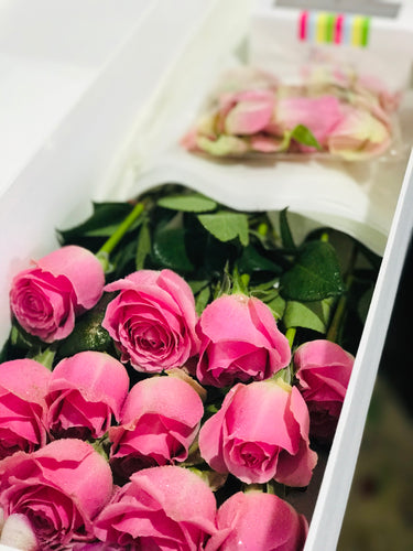 PREMIUM Colombian Long Stem Roses in a box - 1/2 Doz