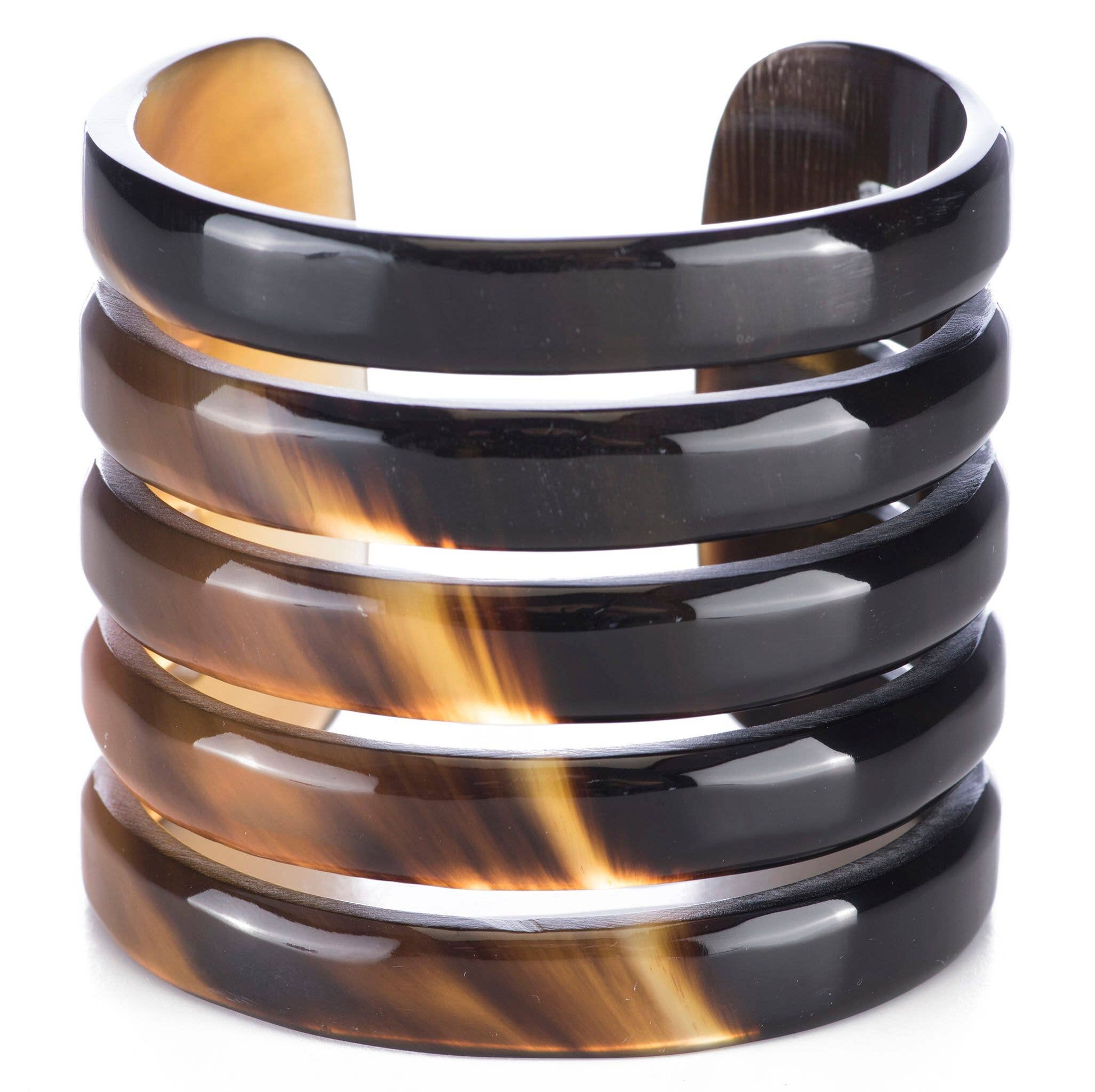 Buffalo Horn Five Band Cuff Bracelet