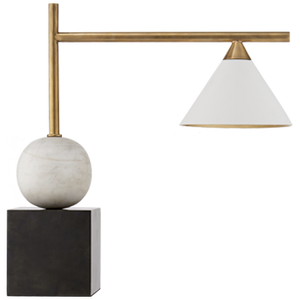 Cleo Desk Lamp in Bronze & White Shade | Kelly Wearstler
