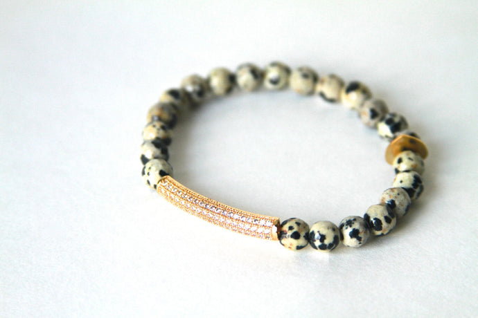 Darling Bracelet- black and white with gold pave