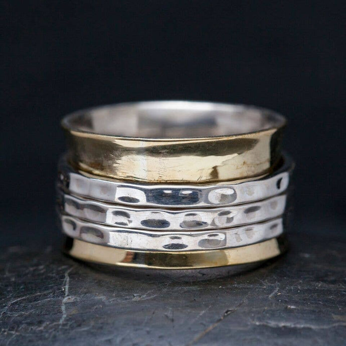 Three Band Meditation Ring | Brass Plate & Sterling | Size 7