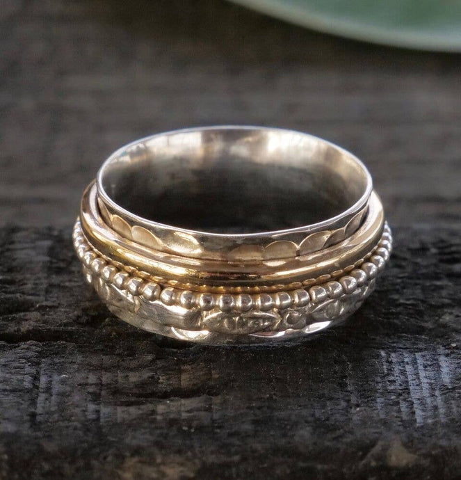 Meditation Ring | Sterling Silver & Brass | Size 6