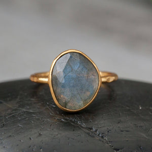 Faceted Moonstone | Sterling & Gold Plate | Size 8