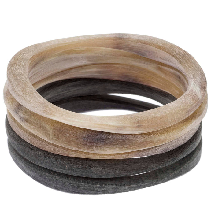 Buffalo Horn Matte Bracelets Set of 5