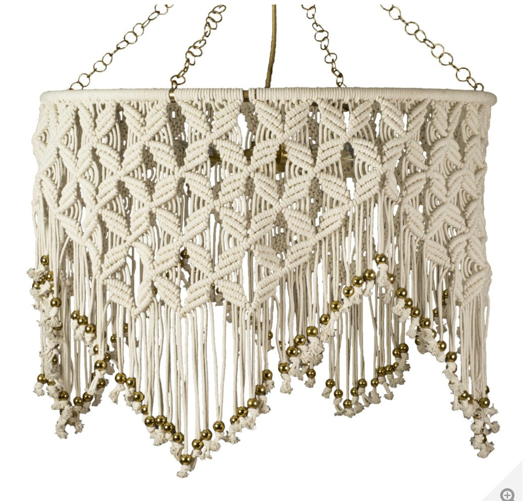 Macrame Chandelier | White