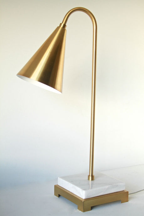 Brass Desk Lamp on Carrera Marble Base