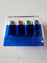 Poker Chips in Blue Acrylic Box