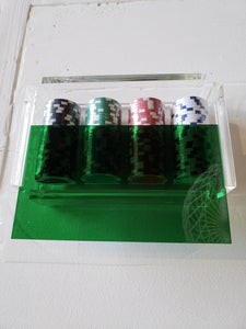 Poker Chips in Green Acrylic Box