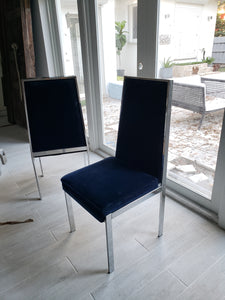 Vintage chrome & blue velvet dining chairs