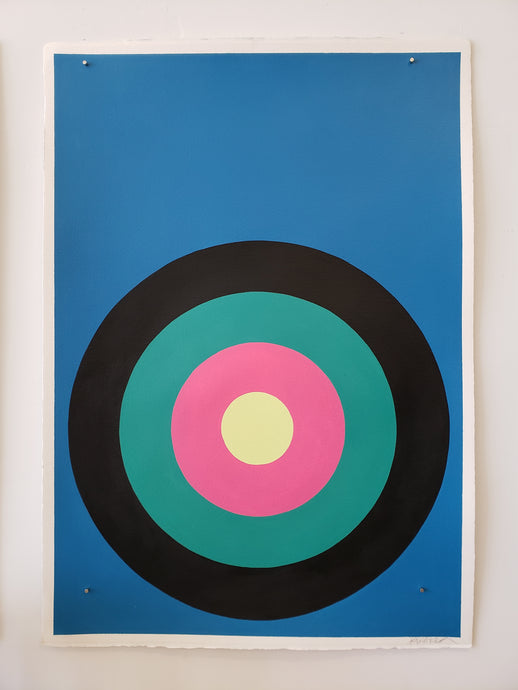 "Stephanie Henderson | Target Practice in Blue Jay | 30"" x 41"" (unframed)"